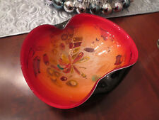 Murano Heavy Black/ Red Cased Glass Ashtray Bowl Tutti Frutti