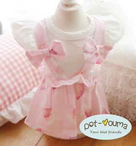 Small Girl Dog Dress Clothes Puppy Apparel Skirt Tutu Cotton Shirt for Shih Tzu