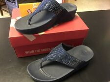 NIB FitFlop Women's Flare Fitness Thong Sandals 302-097-060 Supernavy Size 8
