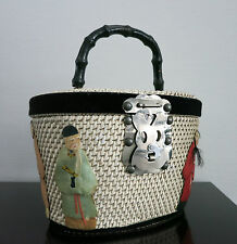 Vintage sac a main _ RARE Handbag _ Hawaii _ 1950 'S _ HONOLULU _ Wicker _ Chinese Wise Men