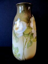 Antique RS Suhl Prussia Art Nouveau Hand Painted Vase White Roses High Quality