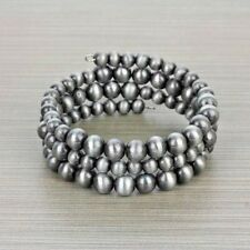 Western Silver Pewter Faux Navajo Pearl Memory Wire Wrap Bracelet Cowgirl Rodeo