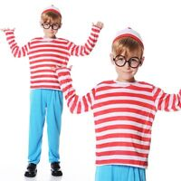 Childs Where's Wally Costume School BOOK DAY WEEK Fancy Dress Boys Outfit Kids