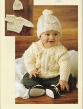 ARAN Baby Toddler Jumper and Hat Knitting Pattern Copy 10 Ply