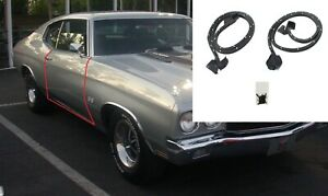 Pair Rubber Weatherstrip Door Seals for 1969-72 GM 2 Dr Hardtop/Convertible Cars