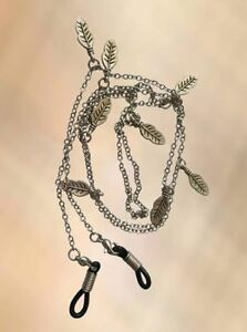 NEW Ladies Silver Leaves Leaf Eye Glasses Chain Necklace Reading Strap Holder