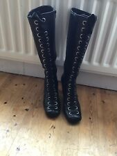 Bronx Black Leather Lace Up Knee High Boots Size 39, 6 Uk Steampunk Gothic