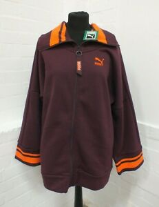 Puma Burgundy Orange Zip Up Oversized Long Sweatshirt UK 10 New With Tags (Hol)