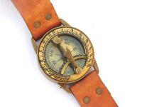 Antique Steampunk Wrist Brass Compass & Sundial-Watch Type Sundial.