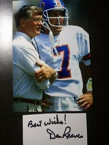 DAN REEVES Authentic Hand Signed Autograph CUT + 4X6 Photo - NFL PLAYER & COACH