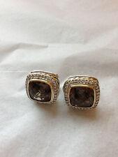 David Yurman 18K Gold Silver 11mm Smoky Quartz 14mm Earrings Pave Diamond