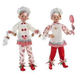 "Set of 2 Candy Cane Baker Elf Posable 16"" Elves Christmas Dolls Raz Imports"