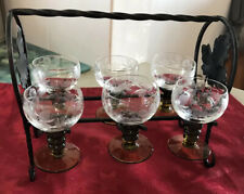 Vintage Port Glasses With Wrought Iron Stand