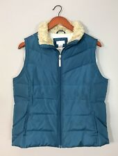 Maurices Padded Puffer Vest Teal Blue Faux Fur Full Zip Down/Feather Filled Sz L