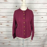 Vtg LL Bean Womens Plum Red Button Nordic Wool Sweater Fair Isle USA Size M