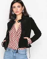 Black Suede Leather Jacket Women Biker Motorcycle Size S M L XL XXL Customize