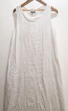 Flax Women's Summer Ivory Cream Sleeveless Maxi 100% Linen Dress Sz S Small