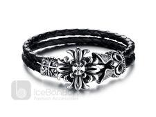 Men's Vintage Cross Stainless Steel Braided Leather Bracelet Bangle - USA Seller