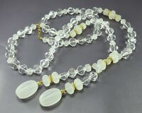 Vintage CLEAR & FROSTED WHITE Beaded Necklace GOLD TRIM Big Tassel Pendant NICE!