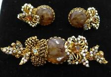 Exquisite Vintage Miriam Haskell Art Glass Rhinestone Beaded Brooch Earrings Set