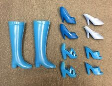 BARBIE DOLL SHOE LOT 5 PAIRS ASSORTED BLUE SHOES HEELS BOOTS PUMPS SLIDES DRESS