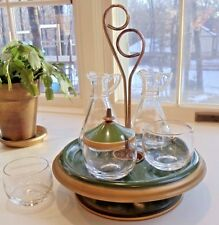 Vintage Mid-Century Modern 7 piece Condiment Set/Lazy Susan Green Metal & Enamel