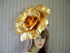 "14"" GOLD Rose Fascinator, Wedding Hat, Garden Tea, Halloween, Kentucky Derby Hat"