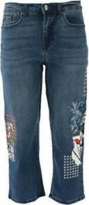 DG2 Diane Gilman Stretch Embroidered Cropped Jean Basic Indigo 10 New 654-662