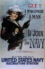 WWl NAVY RECRUITMENT POSTER GEE I  WISH WERE A MAN CHRISTY CANVAS ART PRINT