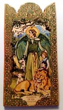 ANGEL PROTECTOR OF ANIMALS & CHILDREN HANDCRAFTED WOOD POCKET RETABLO - A9