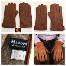 Madova Florence Italy Genuine Leather 100% Cashmere Lined Brown Gloves Mens 9.5