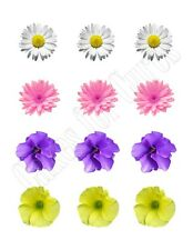 Spring Flowers edible party cupcake toppers decoration frosting toppers 12/sheet