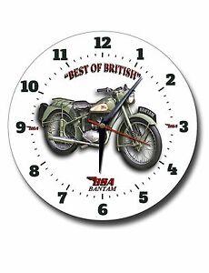 "BSA BANTAM 250MM / 10"" INCHES DIAMETER METAL WALL CLOCK,VINTAGE BSA MOTORCYCLE"