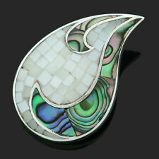Stunning Sterling Silver Mother of Pearl And Abalone  Shaped Pendant-Boxed