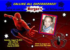 SPIDERMAN SUPERHERO CUSTOM BIRTHDAY PARTY INVITATION & FREE THANK U CARD U PRINT