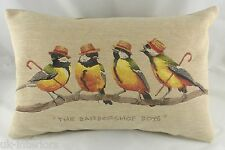 "18""X13"" The Barbershop Boys Song Bird Cushion Belgian Tapestry Evans Lichfield"
