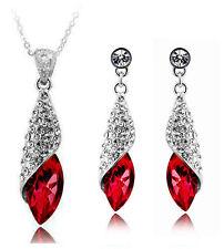 Glamour Red Crystal Teardrop Rhinestone Jewellery Set Earrings & Necklace S231