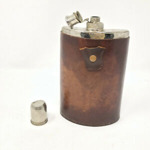 Vintage 12 Oz Siverplated Hip Flask AHS Trademarked Tin Lined US Zone Germany