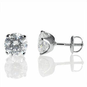 Diamond Stud Earrings 2 CT Round Cut D/SI1 14K White Gold Natural