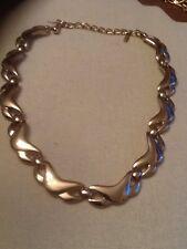 Vintage Monet Gold Tone Necklace Wide Wavy Links
