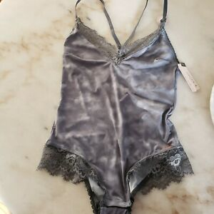 Danskin Intimate Women's Size Small Gray Lace Trim Snap Body Suit ~ NEW tags