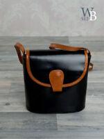 Ital. edle  Abendtasche Schultertasche Diner Bag  Schwarz Braun echt Leder 760SB