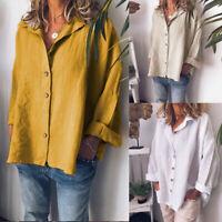 ZANZEA Womens Plus Size Long Sleeve Button Down Tops Shirt Casual Loose Blouse