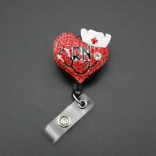 ID Badge Holder Reel Red Cute Heart RN Nurse Brooch Pin Alloy Clear Crystal Gift