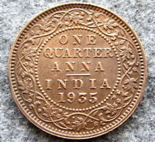 INDIA BRITISH KING GEORGE V 1935 1/4 QUARTER ANNA, UNC LUSTRE