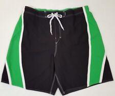Joe Boxer Mens XL Swim Trunks Swimsuit Mesh Lining Black Green Elastic Back C3