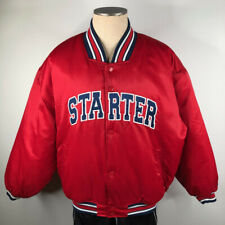 Vintage Starter Mens L Thick Nylon Satin Red Varsity Puffer Jacket Coat Spellout
