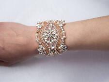 rose gold bracelet cuff art deco vintage jewelry crystal vintage wedding bride