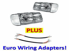 DEPO 81-91 MERCEDES BENZ W126 EURO GLASS 4D HEADLIGHTS+CORNER LIGHTS PAIR+WIRING