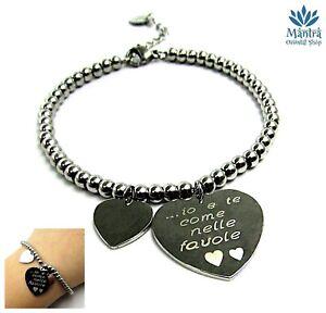 Bracciale donna in acciaio sfere perline con cuore braccialetto vasco rossi da a